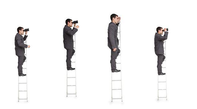 Multiple image of businessman on ladder
