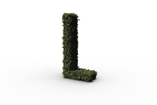 Capital letter l made of leaves