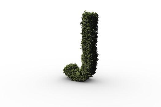 Capital letter j made of leaves