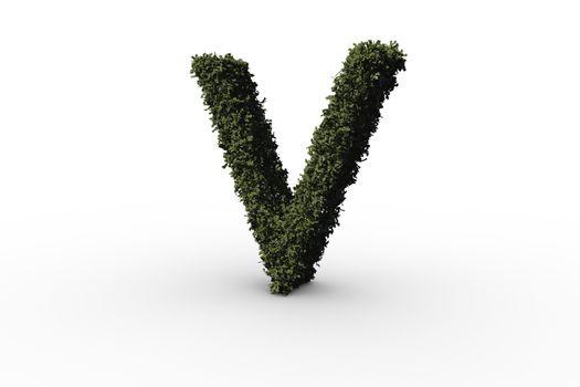 Capital letter v made of leaves
