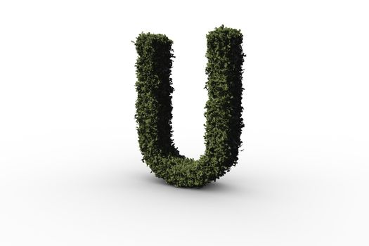 Capital letter u made of leaves