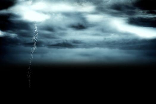 Stormy dark sky with lightning bolt