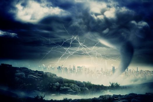 Stormy sky with tornado over cityscape
