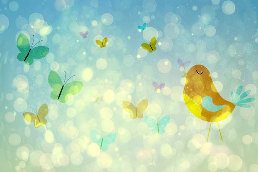 Girly bird and butterfly design