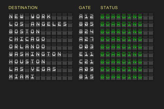 Departures list on black mechanical board