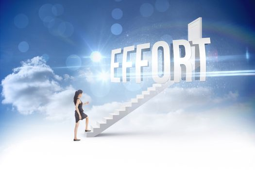 Effort against steps leading to closed door in the sky