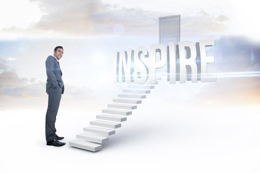 Inspire against white steps leading to closed door