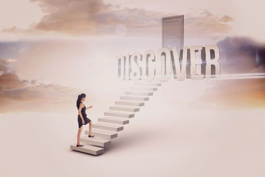 Discover against white steps leading to closed door