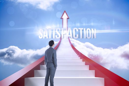 Satisfaction against red steps arrow pointing up against sky