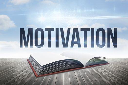 Motivation against open book against sky