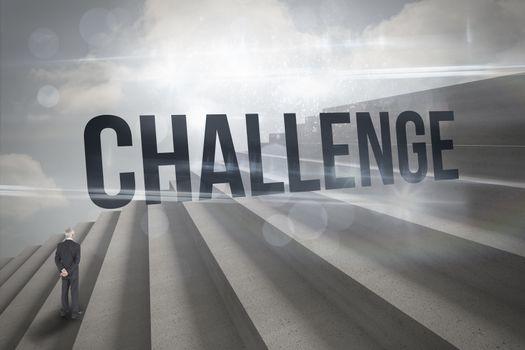 Challenge against steps against blue sky