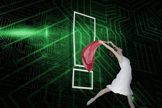 Composite image of exclamation mark and dancer
