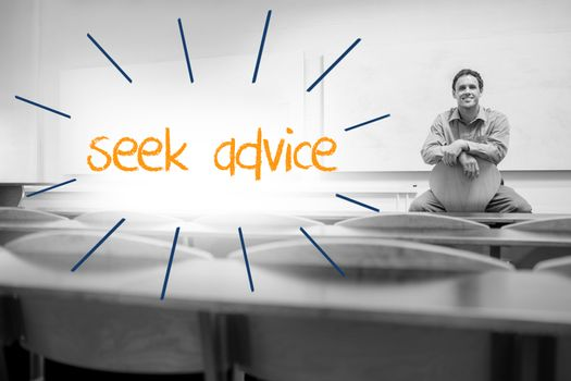Seek advice against lecturer sitting in lecture hall