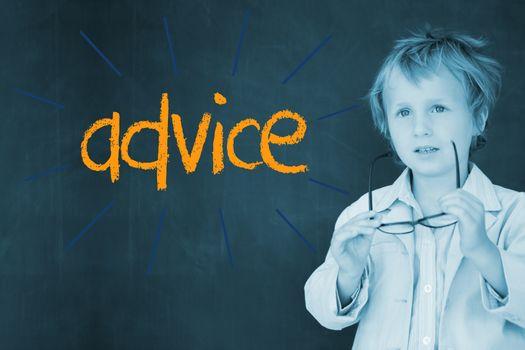 Advice against schoolboy and blackboard
