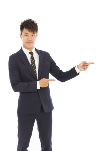 businessman with pointing and showing gesture