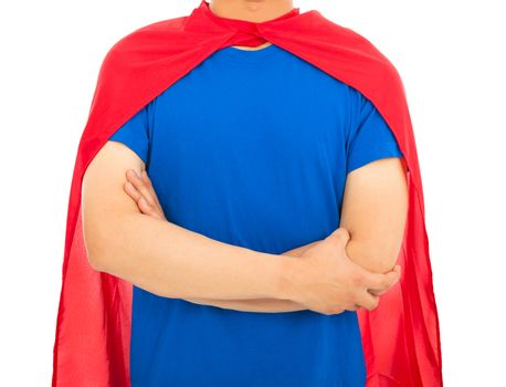 man with super hero shirt