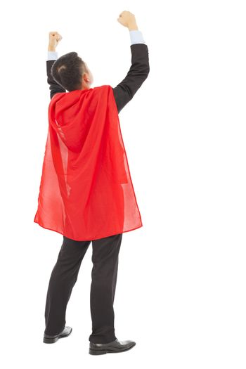 back view successful businessman with super hero red shaw