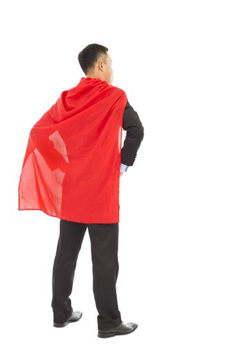 back view businessman with super hero red shaw