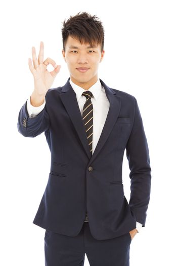 young businessman with ok gesture