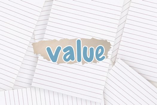 Value against lined paper strewn over surface