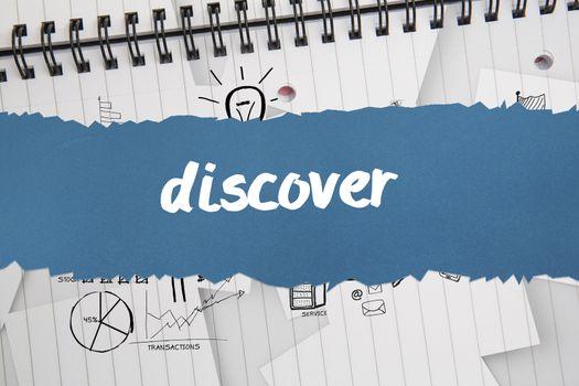 Discover against brainstorm doodles on notepad paper