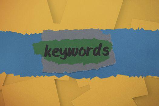 Keywords against digitally generated orange paper strewn