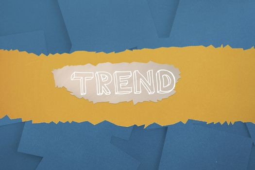 Trend against digitally generated blue paper strewn
