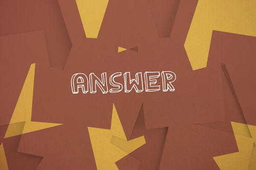 Answer against brown paper strewn over orange