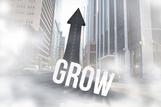 Grow against road turning into arrow