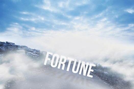 Fortune against road leading out to the horizon