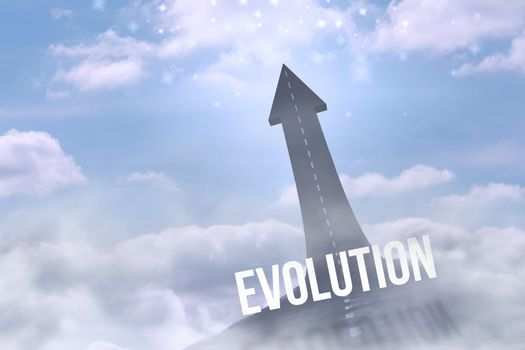 Evolution against road turning into arrow