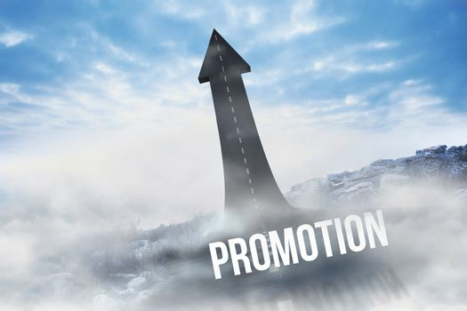 Promotion against road turning into arrow