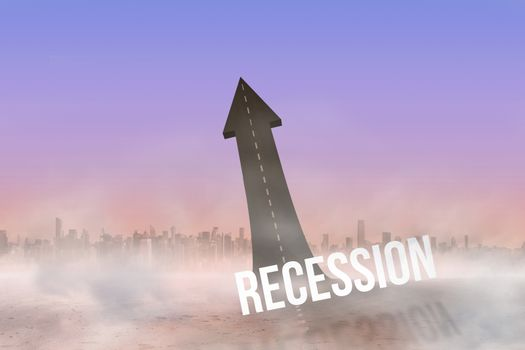 Recession against road turning into arrow