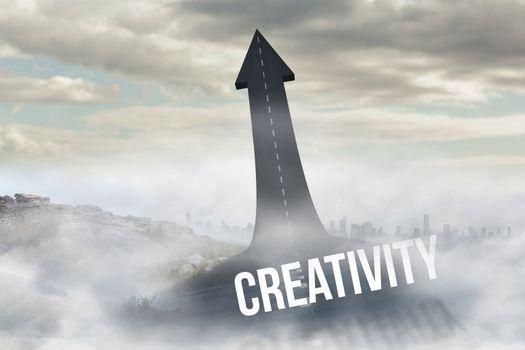 Creativity against road turning into arrow