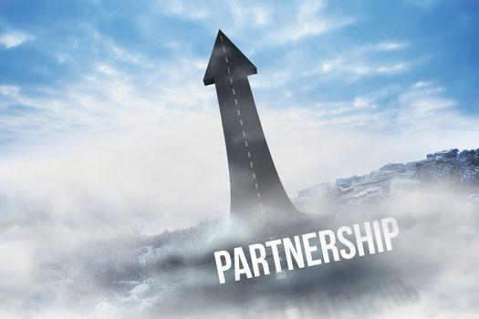 Partnership against road turning into arrow