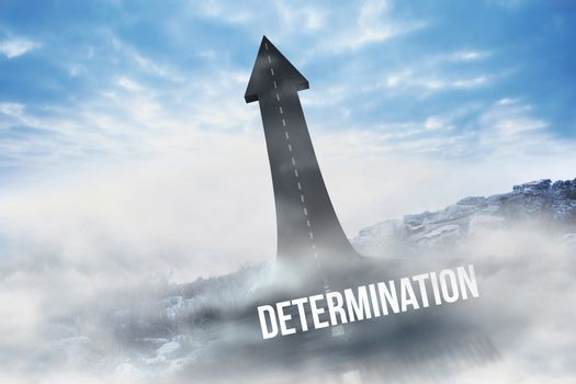 Determination against road turning into arrow