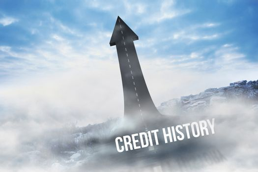 Credit history against road turning into arrow