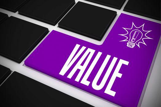 Value on black keyboard with purple key