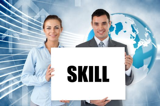 Business partners holding card saying skill