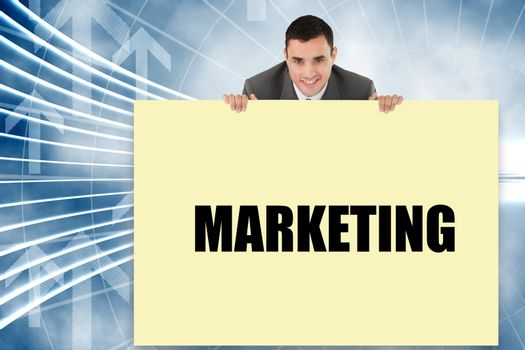 Businessman showing card saying marketing