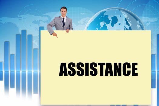 Businessman showing card saying assitance