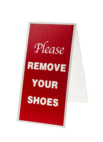 Remove your shoes sign