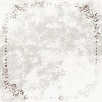 Grundge White Sheet of paper with floral frame