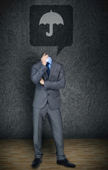 Composite image of headless businessman with umbrella in speech bubble in grey room