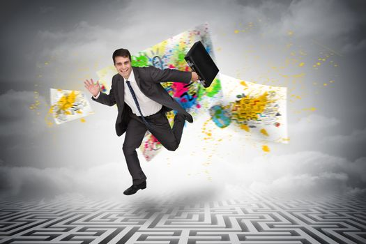 Composite image of smiling businessman in a hurry