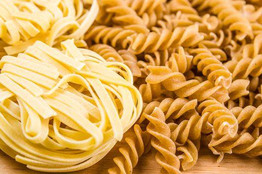 set of different pasta, close-up