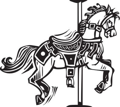 Woodcut style image of a wooden carousel horse