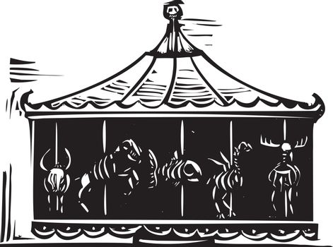 Woodcut style expressionist image of a circus carousel with animal skeletons
