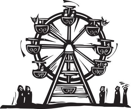 Woodcut style expressionist image of a circus Ferris wheel.