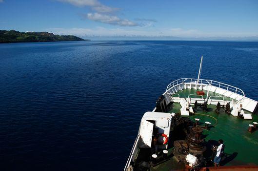 Big ship going along Vanua Levu island, Fiji